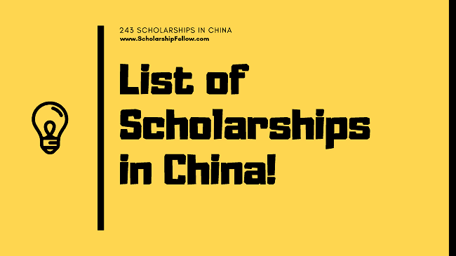List of Scholarships in China