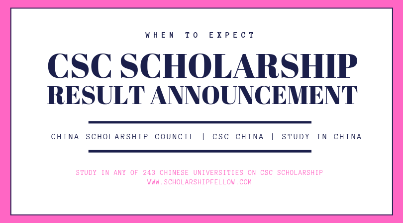 CSC Scholarship Result Announcement 2019-2020 | Chinese